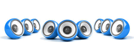 sonorous: blue stylish stereo system over white Stock Photo