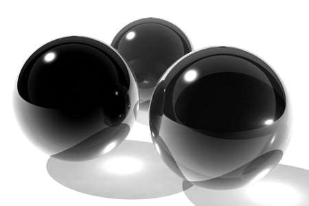three black glass spheres Stock Photo - 4374593