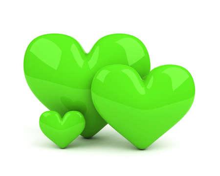 three green hearts. symbol of healthy family