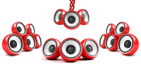 sonorous: red stylish high-power futuristic audio system Stock Photo