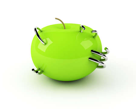factitious: artificial apple with steel rings inside
