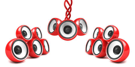 sonorous: red stylish audio system over white Stock Photo