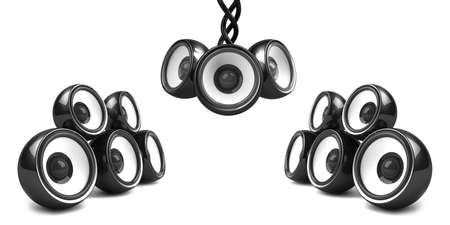 black stylish audio system over white Stock Photo - 4736182