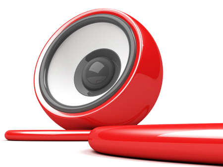 sonorous: red speaker with cable over white Stock Photo