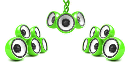 sonorous: green stylish audio system over white