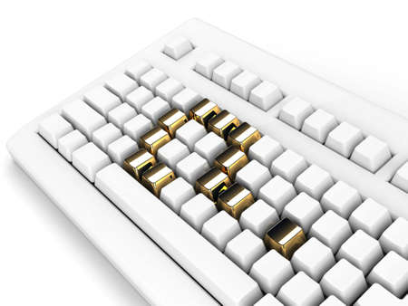 keyboard with gold question-mark concept Stock Photo - 5385089