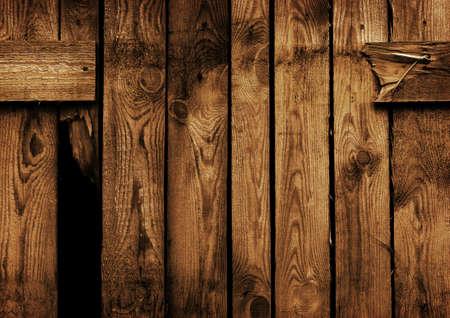 old brown wood fence with a hole Zdjęcie Seryjne
