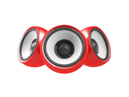 sonorous: red audio system isolated on the white background