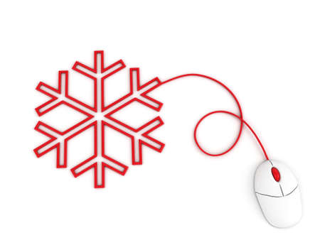 depicted: snowflake depicted by computer mouse