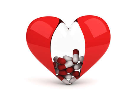 pilule: coraz�n transparente con pastillas dentro de