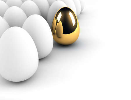 successful leadership: golden egg concept out of the crowd