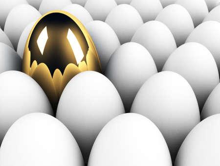 uniqueness: big golden egg in the crowd uniqueness concept Stock Photo