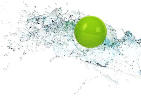 bright green sphere in water splash Stock Photo - 7259632