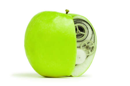 fresh green apple with mechanism inside concept photo