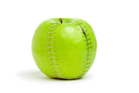 stapled: stapled green apple