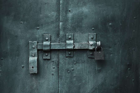 closed metal door with lock Stock Photo