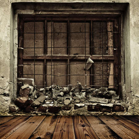 boarded: grunge boarded up window and wooden floor background Stock Photo
