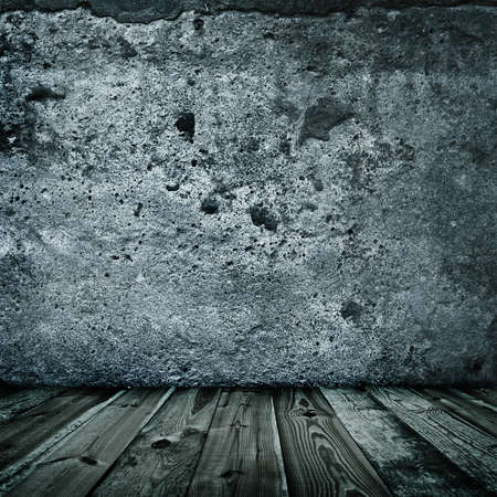 stylish grunge wall texture and wooden floor Stock Photo - 7507460