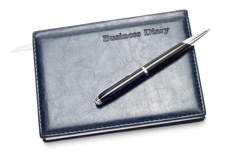 business diary with pen isolated over white Stock Photo - 7572554