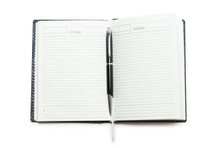 opened notebook with pen isolated Stock Photo - 7572494