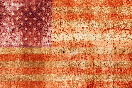faded american flag on rusted metal photo