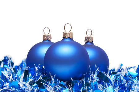blue christmas balls with tinsel isolated on white Stock Photo - 7925611