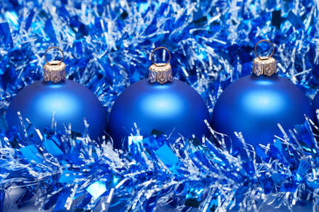blue christmas balls with tinsel Stock Photo - 8095845