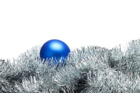 blue christmas ball with tinsel isolated on white Stock Photo - 8256401