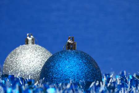 white and blue shiny christmas balls with tinsel Stock Photo - 8481836