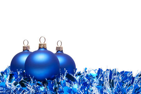 christmas balls with tinsel isolated over white background Stock Photo - 8512599
