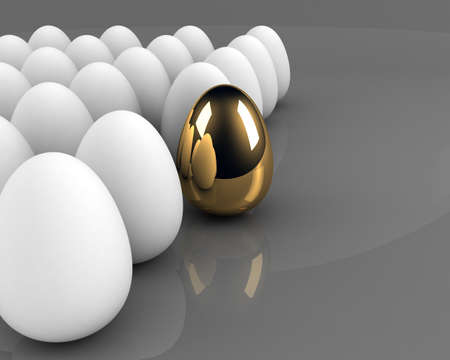 golden egg concept out of the crowd over grey background