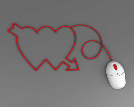 two hearts depicted by computer mouse cable over grey Stock Photo - 8669167