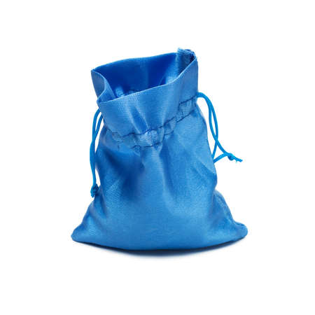 opened bag: opened blue christmas bag with present isolated over white