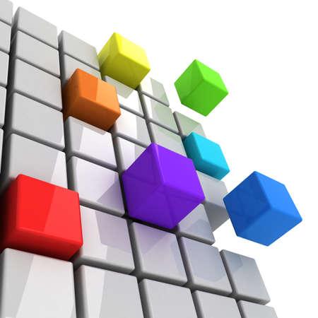cubos de colores conseguir concepto de espectro separado Foto de archivo