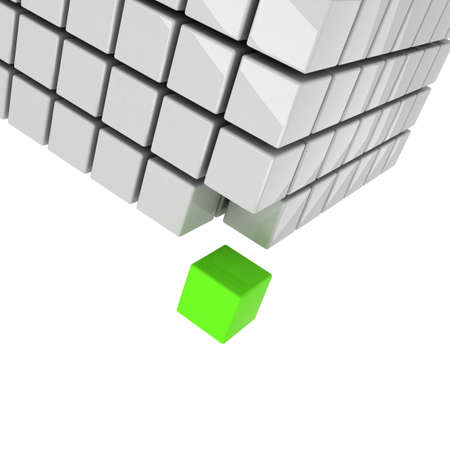 groups of objects: green cube getting detached concept