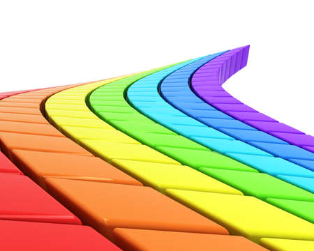 clean street: abstract rainbow-colored road in perspective