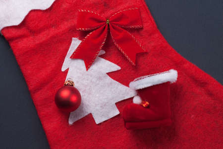 christmas red decoration over grey background christmas concept Stock Photo - 11554041