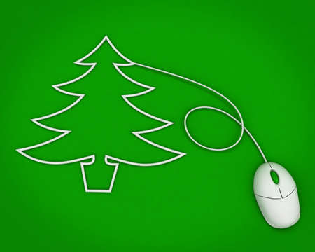 christmas tree depicted with computer mouse cable over green photo
