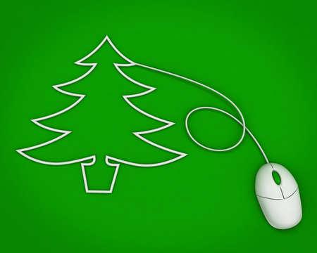 arbre de Noël dépeint avec câble de la souris d'ordinateur sur vert