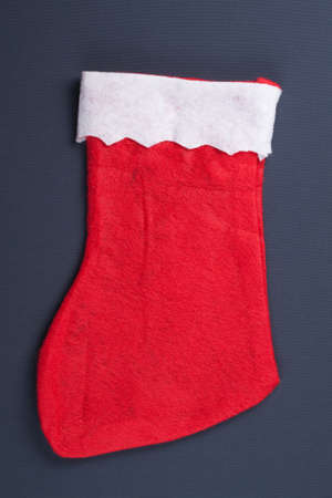 santas red stocking over grey background christmas concept Stock Photo - 11554043