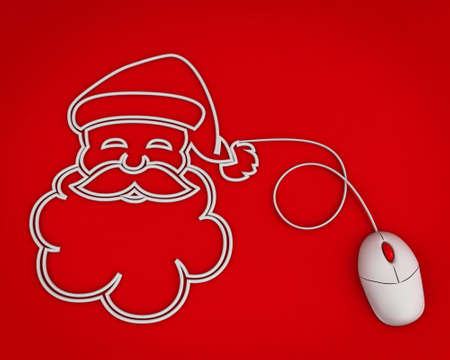 computer cable: smiling Santa depicted with computer mouse cable over red Stock Photo