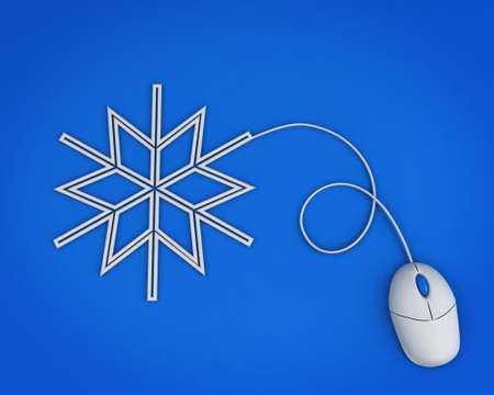 snowflake depicted by computer mouse cable over blue Stock Photo - 11554007