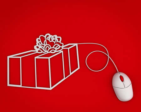 buy gift online concept over red background Stock Photo - 11782817