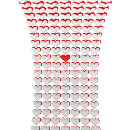 white hearts stylish background with red one in the middle Stock Photo - 11782838