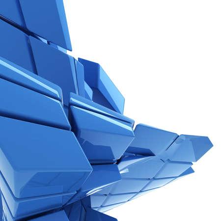 cubo: fondo azul abstracto con la tecnolog�a de espacio de la copia