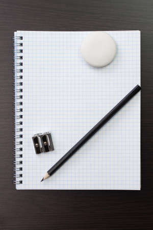 blank notebook and pen on table Stock Photo - 14719380