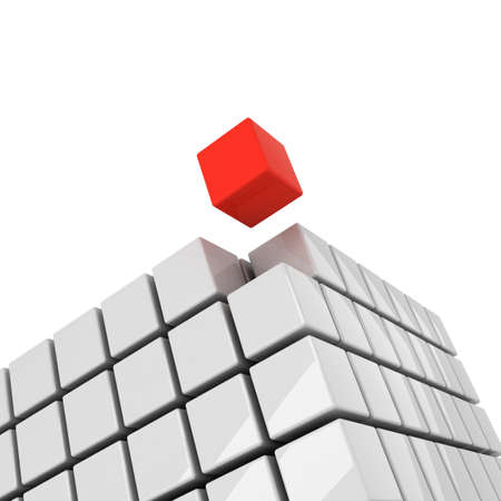 detach: red cube getting detached concept