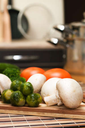 fresh food ingredients on the kitchen table photo