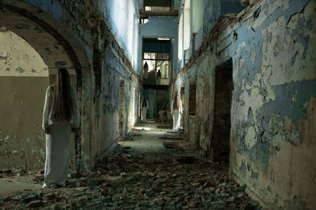 ghost face: multiple ghost girl in an abandoned building