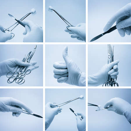composition of hands with surgery instruments photo